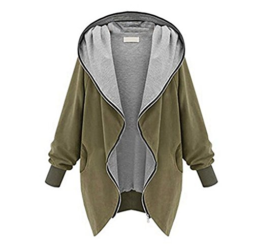Hirolan_New Womens Zipper Hoodie Kapuzen Jacket Parka Trench Coat Windbreaker (XL, Khaki) Full Zip Heavyweight Parka