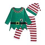 POLP Niño Navidad Bebe Ropa Disfraz Navidad Bebe Navidad Regalo Conjunto de Pantalones Estampados de Manga Larga a Rayas de Trajes Bebe Invierno Tops y Pantalones Gorro Invierno Bebe 3 Piezas