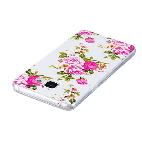 Custodia Galaxy A5 2016 - Cover per Samsung Galaxy A5 2016 - ISAKEN Fashion Agganciabile Luminosa Custodia con LED Lampeggiante PU Pelle Portafoglio Tinta Unita Cover Caso per Samsung A5 2016, Luxury  floral