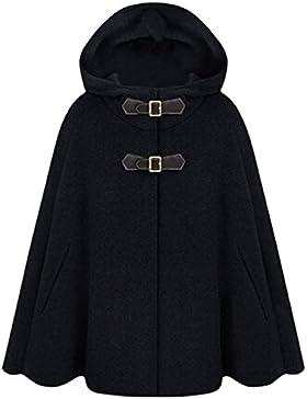 Azbro Mujer Invierno Abrigo de Capa de Lana Mezcla de Lana con Capucha