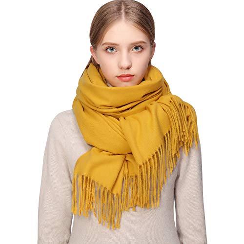 Pashmina de invierno amarilla para mujer