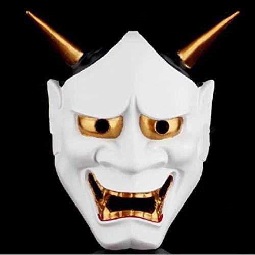 Wbdd Maske Vintage Japanische Buddhistische Böse Oni NOH Hannya Maske Halloween Kostüm Horror Maske weiß