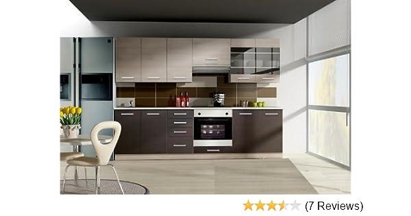 Küche wiktoria 260cm küchenzeile küchenblock variabel stellbar in eichenholzoptik chamonix hell dunkel amazon de küche haushalt