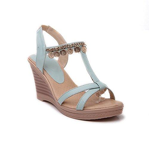 Adee Damen Fashion Keile High-Heels Weiches Material Sandalen Blau