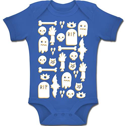 Shirtracer Anlässe Baby - Halloween Totenkopf Mosaik - 1-3 Monate - Royalblau - BZ10 - Baby Body Kurzarm Jungen Mädchen