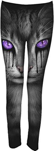 Spiral-lacrime di gatto-Donna Allover Comfy Fit Leggings Nero Black Small