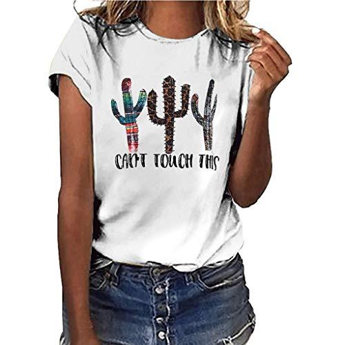 Yvelands-Damen Tops T-Shirt Mädchen Plus Size Print Shirt Kurzarm Bluse Tops(Weiß,XXXL)