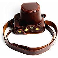 Protección completa inferior abertura de la caja Versión PU de protección de la cámara del bolso de cuero con el trípode Diseño compatible para Olympus PEN-F con la correa de hombro correa para el cuello