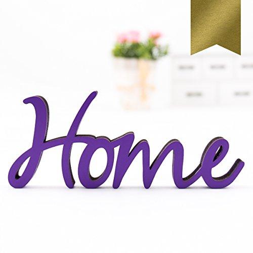 """Kleinlaut 3D-Schriftzug \""""Home\"""" in Größe: 25 x 10,3 cm - Dekobuchstaben - 32 Farben zur Wahl - Gold"""