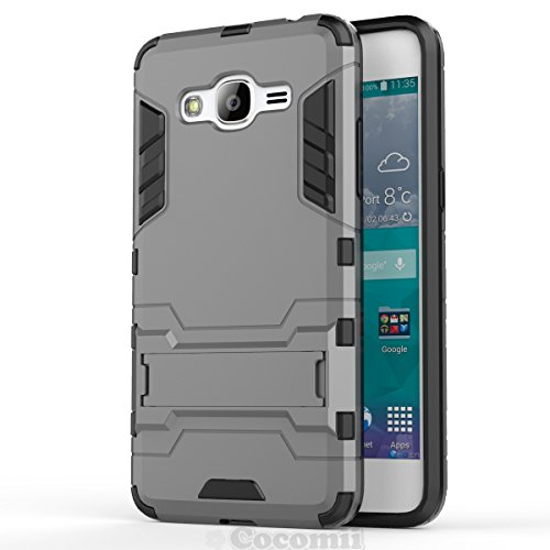Galaxy J2 Prime Hülle, Cocomii Iron Man Armor NEW [Heavy Duty] Premium Tactical Grip Kickstand Shockproof Hard Bumper Shell [Military Defender] Full Body Dual Layer Rugged Cover Case Schutzhülle Samsung G532 (Gray) (Privacy Screen Cover-monitor)