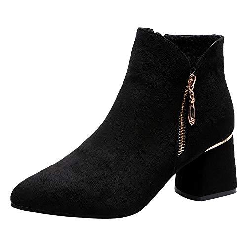 Toasye Damen High Heel Schuhe Wildleder Einfarbig Boots Stiefel Spitzschuh Reißverschluss Schuhe