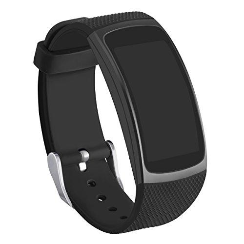 Kmasic Kompatibel Gear Fit 2 Pro/Fit 2 Armband, Silikon Bänder Ersatzband für Samsung Gear Fit 2 & 2 Pro Tracker (Neu Schwarz)