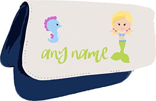 Personalizzato Mermaid M6verde coda con capelli biondi Seahorse qualsiasi nome frizione o Pencil Case Misura unica Blue - Verde Shell Ginger