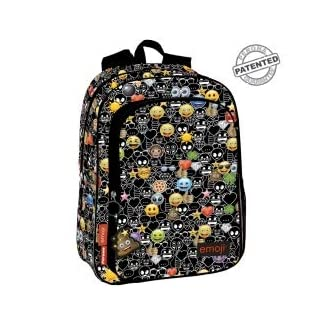 Emoji Just It – Mochila, Negro, 43 x 30 x 14 cm