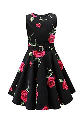 BlackButterfly Kinder 'Audrey' Vintage Infinity Kleid im 50er-J-Stil (Große Rote Rosen, 13-14 J / 158-164)