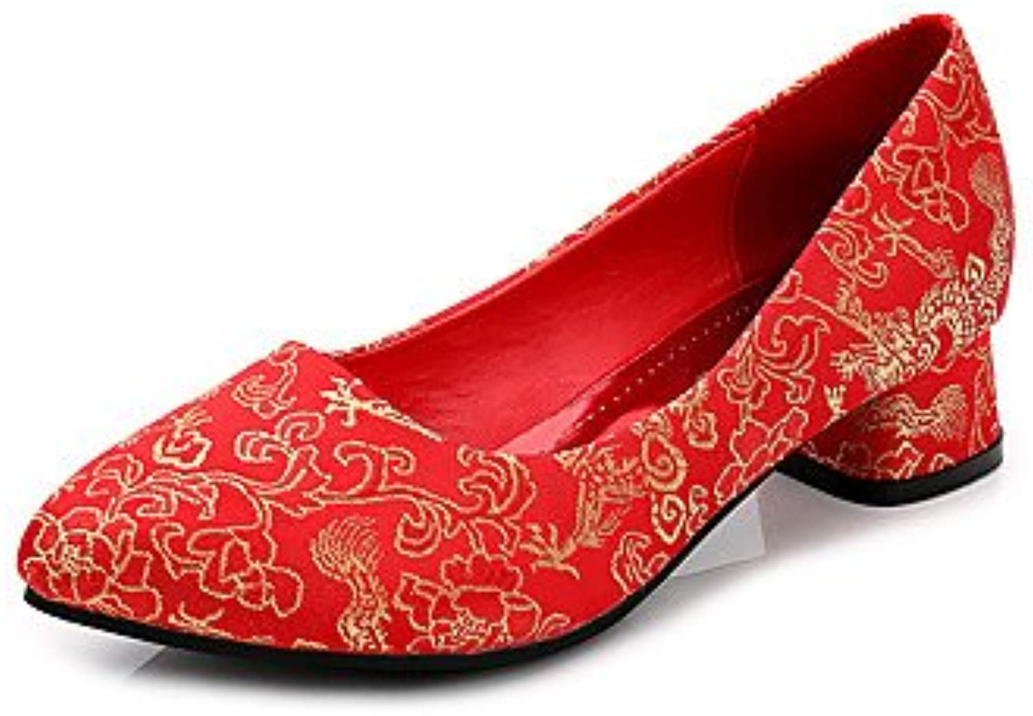 Zormey Women'S Heels Fall Comfort / Round Toe / Closed Toe Cotton Wedding Low Heel Others Red Walking Red Us5.5...