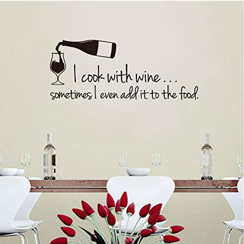 wmyzfs Gourmet Aufkleber Ich Koche mit Wein Vinyl Wandaufkleber Aufkleber Wandbild Wandkunst Tapete Wohnkultur Raumdekoration Zubehör 22x55 cm -