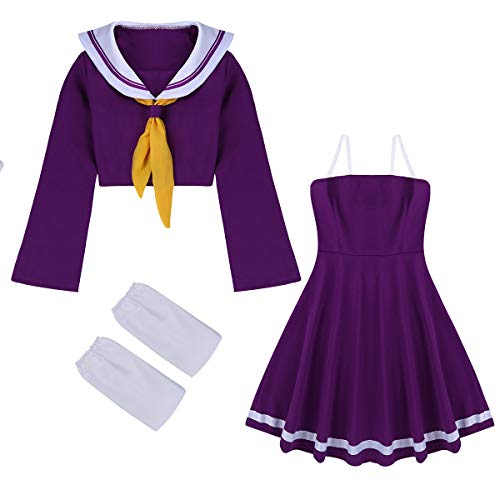Alvivi 4 Pcs Uniforme Sailor Suit Anime Cosplay Costume Top Haut Manches  Longues et Robe Bretelle 820f6c343
