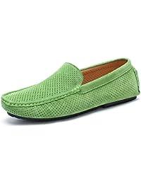 Sneerrt Mocasines de Hombre Zapatos de Cuero Genuino Casual Deslizamiento Calzado de conducción Mocasines Transpirables Mocasines