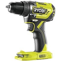 Ryobi r18dd5-0ONE + Perceuse visseuse sans balais de 18V, sans batterie, 0W, 18V, vert, Standard