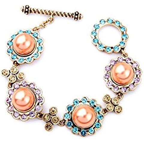 SUYA Braccialetto,Gioielli, bracciali, retrò, perle di colore acrilico, intarsiato di strass, bracciali, braccialetti delle donne