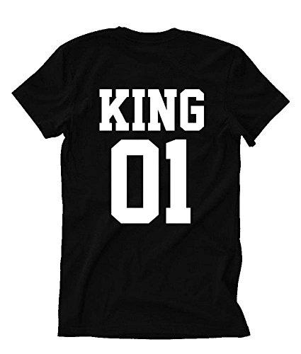 LOSORN ZPY Damen Herren Sommer T-Shirt Sport Tops Baumwolle Paar Bluse Schwarz Weiß King-Schwarz