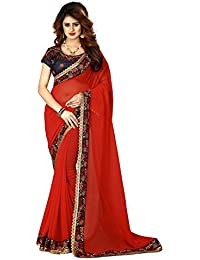 Greenvilla Designs Red Georgette Wedding Saree With Blouse