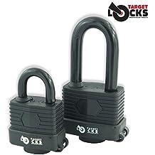 Target Candado resistente al agua y resistente, 50mm, totalmente revestido, 3 llaves de alta seguridad por candado, negro, Long Shackle