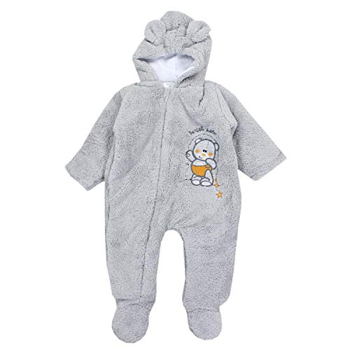 TupTam Unisex Baby Schneeanzug mit Kapuze Fleece-Overall , Farbe: Grau, Größe: 62