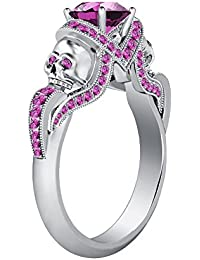 Silvernshine 1.52Ct Pink Sapphire CZ Diamond Weddding &Engagement Two Skull Ring 14K White Gold PL