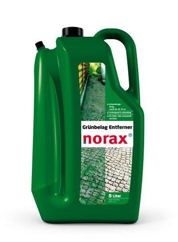 norax Grünbelag-Entferner 5l - Gegen Algen, Moos, Grünbelag, schützt vor Neubefall auf Stein, Holz, Kunststoff und Glas