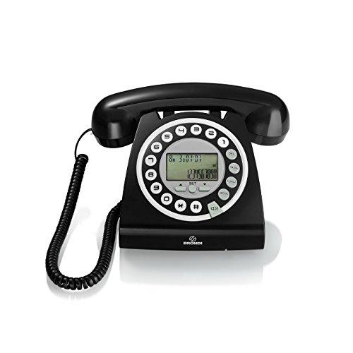 Brondi Hallo - Teléfono Fijo Digital (Pantalla LCD, identificador de Llamadas, Reloj), Negro