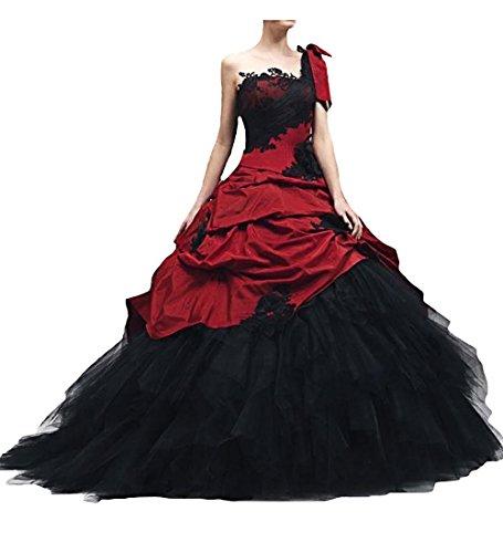 Schwarz Rot Lange Vintage Brautkleider Damen Gotisch Hochzeitskleider(Schwarz+Rot, 40)