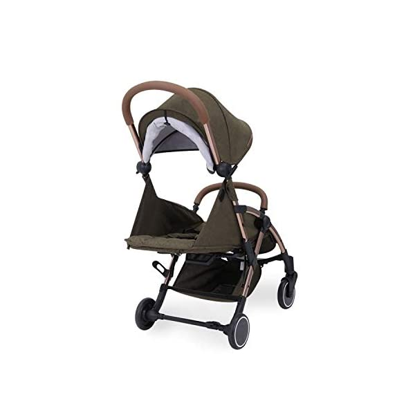 Ickle Bubba Globe Prime Baby Stroller | Lightweight and Portable Stroller Pushchair | Folds Slim for Ultra Compact Storage | UPF 50+ Extendable Hood and Baby Carriage Accessories | Khaki/Rose Gold Ickle Bubba ONE-HANDED 3 POSITION SEAT RECLINE: Luxury baby stroller suitable from birth to 15kg-approx. 3 years old; features luxury soft quilted seat liner, footmuff, cupholder, buggy organiser, storage bag and rain cover UPF 50+ RATED ADJUSTABLE HOOD: Includes a peekaboo window to keep an eye on the little one; extendable hood-UPF rated-to protect against the sun's harmful rays and inclement weather ULTRA COMPACT AND LIGHTWEIGHT: Easy to transport, aluminum frame is lightweight and portable-weighs only 6.4kg; folds compact for storage in small places-fits in aeroplane overhead; carry strap and leather shoulder pad included 9