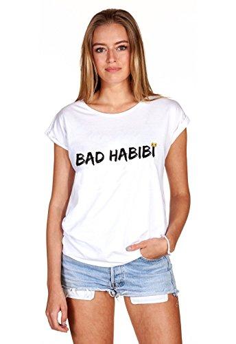 T-Shirt Oberteil Damen Girl Bad Habibi Habit Statement Print Aufdruck Böses Mädchen Weiß XS
