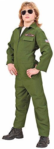 Pilotenkostüm Flieger Anzug für Kinder Gr. 128 - Overall Grün (Air-force-overalls)