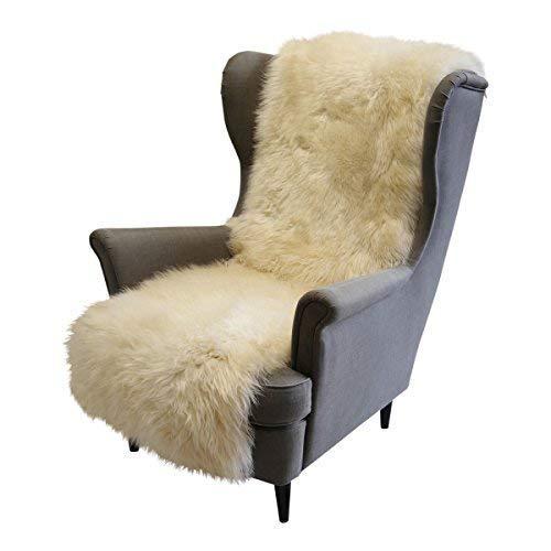 Hollert German Leather Fashion Lammfell - SESSELAUFLAGE Sitzauflage Unterbett Merino Fellauflage 160x50 cm Farbe Champagner