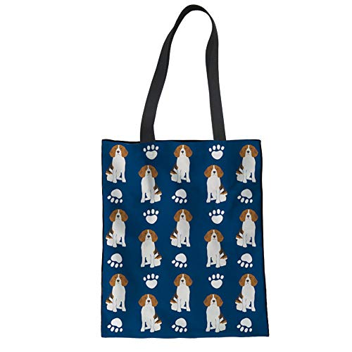 Nopersonality Reusable Grocery Bag Lunch Box Carry Pouch Womens Girls Shopping Tote Canvas Handbag, Washable, Beagle Footprints Print Canvas Womens Schuhe