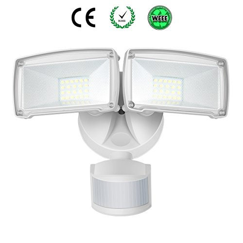 SOLLA Dual-Kopf Bewegungs-Sensor-Licht, 22W LED-Außenstrahler mit einstellbarem Bewegungsmelder, 1600lm, 5000K Tageslichtweiß, IP65 Wasserdicht LED Fluter für Hof, Garten, Deck, Garage (Licht-sensor-led)