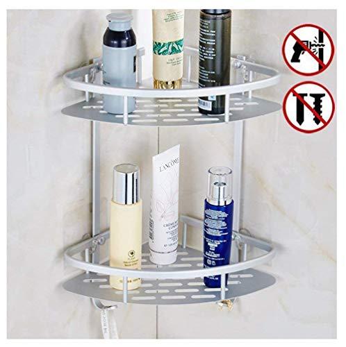 Kein bohren Badezimmer Eckregal Regal, 123-Tier-Caddy, Shampoo Aufbewahrungskorb mit Rost aus Aluminium Badewanne Organizer zur Wandmontage, aluminium, 2 Tier