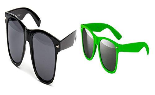 2 er Set Partybrille Sonnenbrille Brille Nerd Brillen Schwarz + Neon Grün Matt