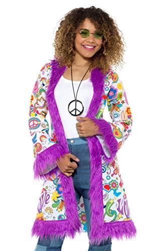 Smiffys SMIFFY 'S 47338lx160er Groovy Hippie Coat, Damen, Mehrfarbig, L bis xl-uk Größe 16-22