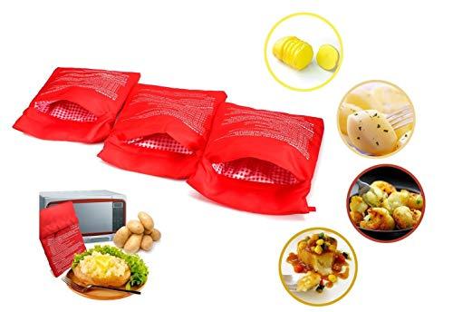 3 PZ Patate Microonde Patate Express Pouch Lavabili Riutilizzabili Microonde Patate Bag Potato Express Bag Patate perfette Solo in 4 minuti (Rosso)