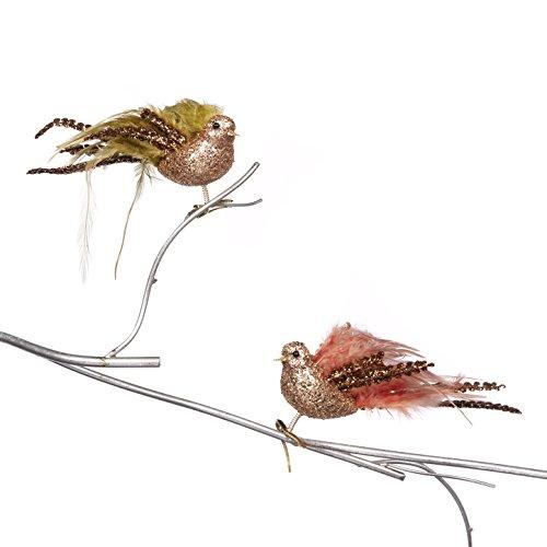 Goodwill: Weihnachten Bohemian Glitzer Feder Vogel auf einem Clip 23cm (2sortiert) (Glitzer-vogel-ornament)