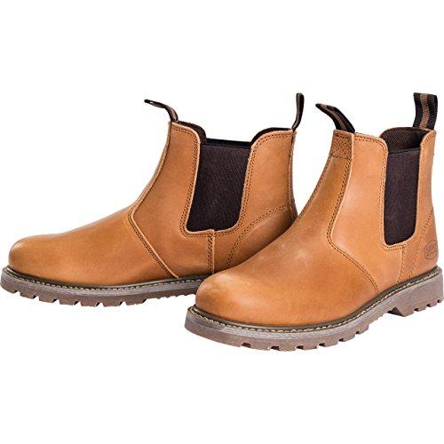 Spirit Motors Freizeitschuh Chelsea-Boots für Herren, Urban Lederschuh, Schlupfschuh, ölresistente, griffige Sohle, ergonomisch geformte Sohle, Rindsleder, strapazierfähige Gummizüge, Hellbraun, 44