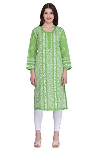 ADA Handcrafted Lucknowi Chikankari Regular Fit Cotton Kurti (A279346_Green)