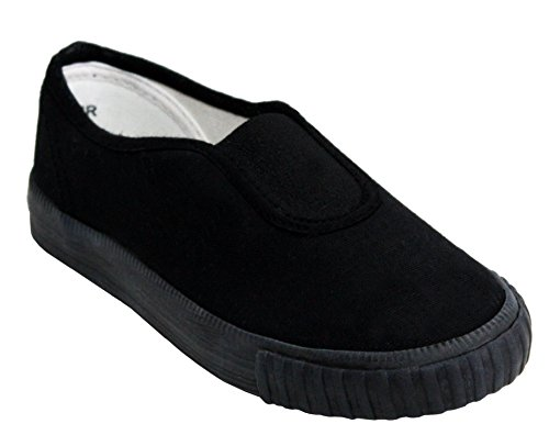 Dek Boys Girls Unisex Slip On Canvas Elastic Gusset Black Flat School Pumps Plimsolls Trainers Shoes Infant-Youth Sizes 10-5