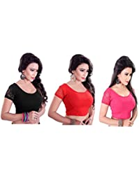 Fressia Fabrics Readymade free Size saree blouse for women party wear Stretchable blouses Combo (PACK OF 3)