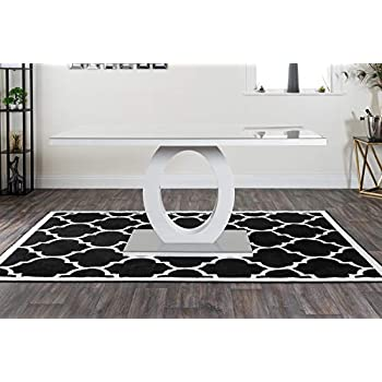 Furniturebox UK Giovani Modern Stylish Grey/White High Gloss Glass Dining Table and 6 Modern Lorenzo Chairs Set (Dining Table Only)