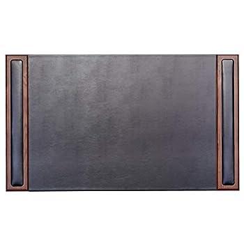 Dacasso Walnut & Leather 10-Piece Desk Set, Wood, Walnut and Black Leather, 88.27 x 52.7 x 13.67 cm